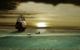 Обои море, закат, рыбалка