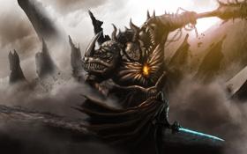 Картинка оружие, скалы, сердце, монстр, меч, воин, маска
