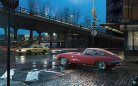 Картинка Jaguar E-Type 1963, дождь, ночь, дорога