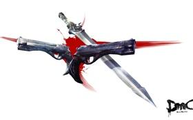 Картинка оружие, кровь, пистолеты, меч, guns, sword, Dante