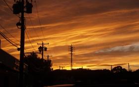Обои закат, облака, небо, солнце, улица, город, city