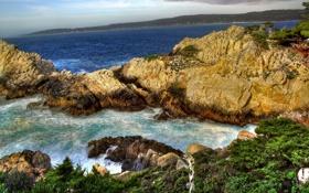 Обои скалы, трава, океан, природа, пейзажи, вода, море