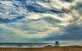 Картинка песок, море, волны, пляж, небо, пейзаж, природа