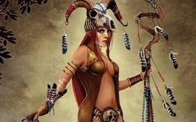 Обои девушка, череп, перья, арт, рога, посох, шаман