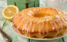 Картинка лимон, сдоба, десерт, выпечка, кекс, лимонная глазурь