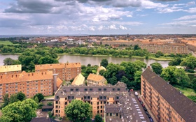 Картинка деревья, река, дома, Дания, вид сверху, Copenhagen