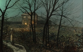 Обои картина, живопись, painting, 1882, John Atkinson Grimshaw, Woman on a Path by a Cottage