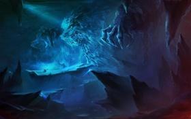 Обои скалы, человек, арт, пещера, битва, цепи, моснтр