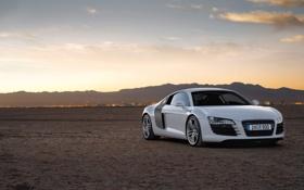 Картинка ауди, пустыня, вечер, Audi R8, supercar