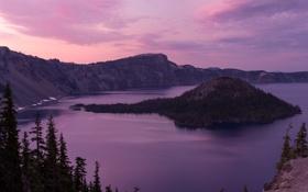 Обои лес, природа, озеро, кратер, Oregon, U.S.A., Crater Lake National Park