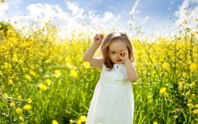 Картинка поле, лето, цветы, ребенок, девочка