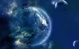 Обои пространство, камни, планета
