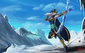 Картинка взгляд, девушка, снег, пейзаж, горы, оружие, лук