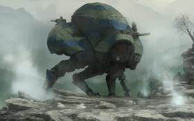 Обои лапы, робот, броня, альпинист, деревья, орудия, туман