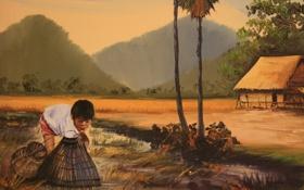 Обои мальчик, рыбалка, живопись, КАмбоджия, рыбак, картина