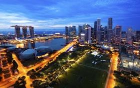 Обои город, утро, панорама, небоскрёбы, сингапур, Singapore, Marina Bay