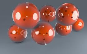 Обои стекло, отражение, шары, обои, оранжевые, звездочки