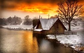 Обои зима, снег, река, церковь, зарево