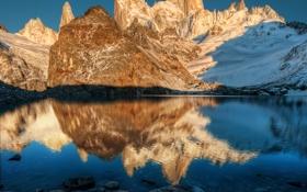 Картинка небо, закат, горы, озеро, вершины