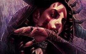Обои девушка, кровь, паутина, арт, когти, клыки, вампир