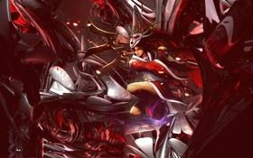Обои девушка, магия, маска, битва, Akali, league of legends, Blood Moon