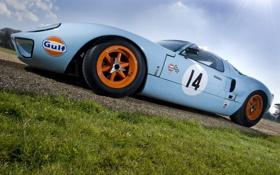 Обои дорога, трава, дверь, колеса, диски, гоночный, Ford GT40