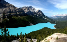 Картинка деревья, горы, природа, озеро, камни, пейзажи, вид