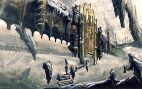 Картинка город, камни, скалы, человек, высота, арт, лестница