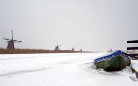 Картинка зима, лодка, канал