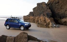 Картинка Море, Пляж, Горы, Синий, Машина, Обои, Land Rover