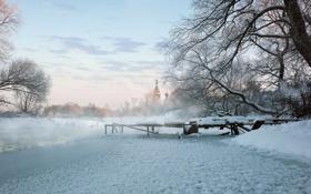 Картинка зима, мост, река, Храм Покрова Пресвятой Богородицы