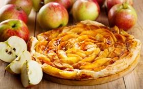 Обои пирог, яблоки, десерт, еда, выпечка, фрукты