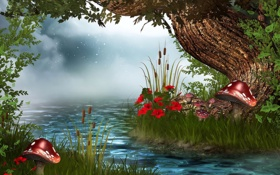 Картинка лес, цветы, река, рендеринг, грибы, сказка