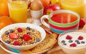 Картинка breakfast, muesli, orange, еда, фрукты, апельсин, яблоко