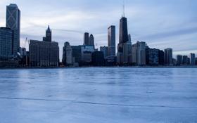 Картинка зима, снег, лёд, небоскребы, Чикаго, USA, Chicago
