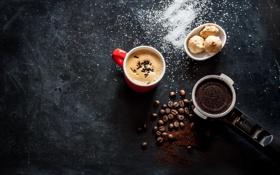 Обои пена, кофе, чашка, кофейные зёрна, булочки