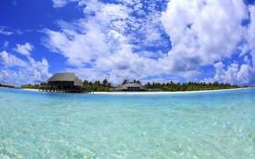 Картинка песок, море, пляж, небо, облака, пальмы, люди