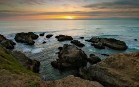 Обои закат, океан, скалы