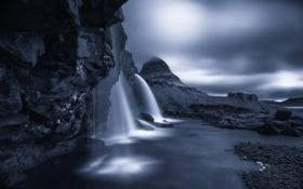 Картинка река, камни, скалы, гора, водопад