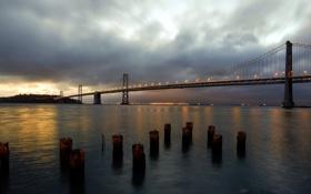 Картинка пейзаж, ночь, мост, река