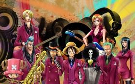 Картинка One Piece, музыкальные инструменты, соломенная шляпа, в костюмах
