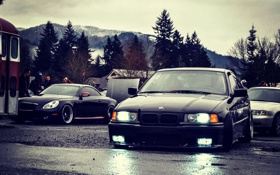 Обои пасмурно, фары, бмв, BMW, oldschool, 3 series, stance