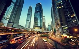 Обои traffic, здания, buildings, night, china, ночь, city