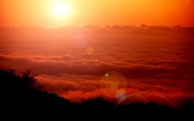Картинка небо, солнце, облака, закат, природа