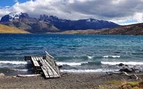 Картинка облака, горы, озеро, Чили, Patagonia, Lago Azul