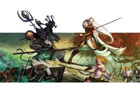 Обои фантастика, бой, существа, фон, эльфы, оружие, монстры