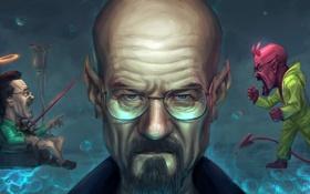 Обои лицо, очки, борода, devil, art, breaking bad, walter white