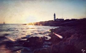 Картинка море, маяк, стилизация