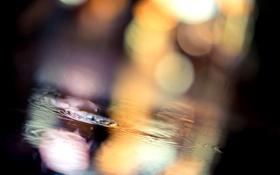 Картинка капли, ночь, вода, боке, огни, город, дождь