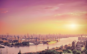 Обои небо, солнце, город, река, англия, лондон, порт